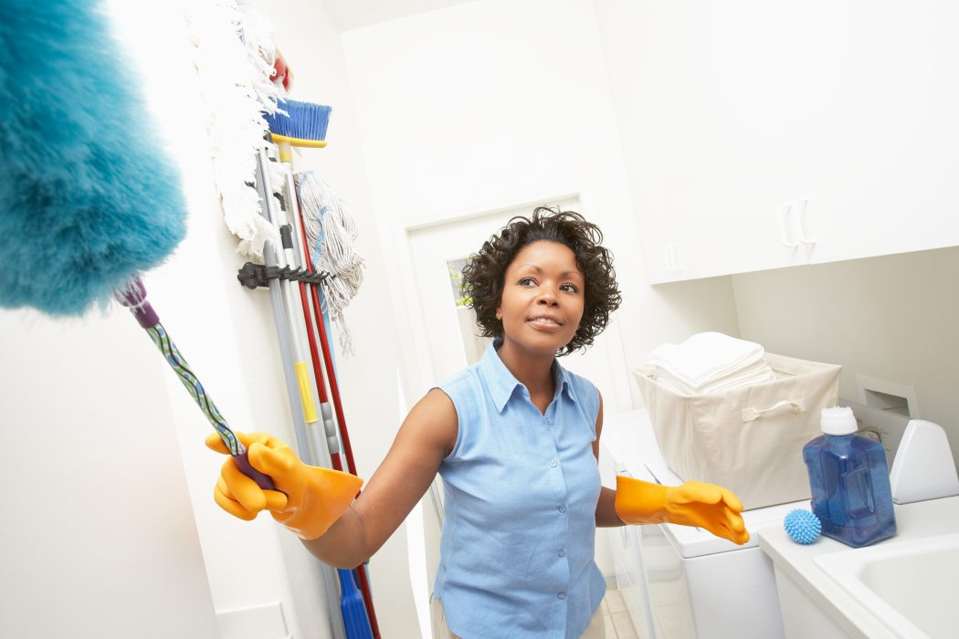 Woman Dusting And Domestic Cleaning