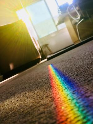 Clean carpet with rainbow