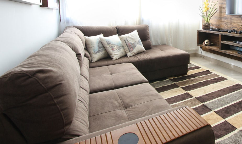 Suede Sofa in the living room